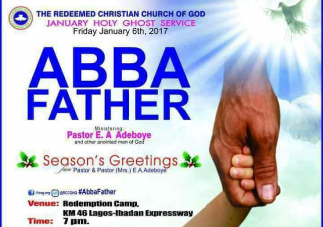 Prayer points from RCCG January 2017 Holy Ghost Service