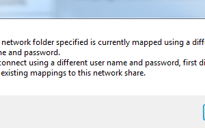 "How to Fix: ""The Network folder specified is currently mapped using a different user name and password"""