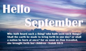 Welcome to the month of September 2018